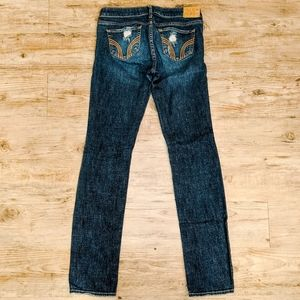 Hollister Jeans Dark Distressed Boot Cut Skinny 1R